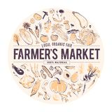 Vector hand drawn illustration of fresh raw vegetables. Sketch style. Banner for food fair & farmers market. Healthy food element set: tomato, cucumber, beets stock illustration