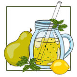 Vector hand drawn illustration of fruit smoothie in a glass Royalty Free Stock Photo