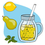 Vector hand drawn illustration of fruit smoothie in a glass Stock Images