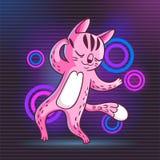 Vector hand drawn illustration of funny dancing cat on disco par. Vector hand drawn illustration of funny cartoon dancing cat on disco party. Cute animal royalty free illustration