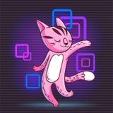Vector hand drawn illustration of funny dancing cat on disco par. Vector hand drawn illustration of funny dancing cartoon cat on disco party. Cute animal Stock Photo