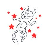 Vector hand drawn illustration of funny dancing cat on disco par. Ty. Cute animal character with neon lights on background. Contour sketch isolated on white Stock Photo