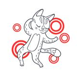 Vector hand drawn illustration of funny dancing cat on disco par. Ty. Cute animal character with neon lights on background. Contour sketch isolated on white stock illustration