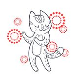 Vector hand drawn illustration of funny dancing cat on disco par. Ty. Cute animal character with neon lights on background. Contour sketch isolated on white Stock Image