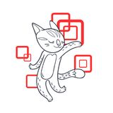 Vector hand drawn illustration of funny dancing cat on disco par. Ty. Cute animal character with neon lights on background. Contour sketch isolated on white Royalty Free Stock Photo