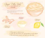 Vector hand drawn illustration of ginger detox salt scrub recipe.  Royalty Free Stock Photo
