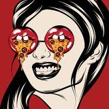 Vector hand drawn illustration of girl in sunglasses with mouths with slice of pizza. royalty free illustration