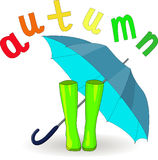 Vector hand drawn illustration of green rubber boots and blue open umbrella and colorful letters autumn Royalty Free Stock Photo