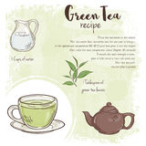 Vector hand drawn illustration of green tea recipe with list of ingredients Royalty Free Stock Image