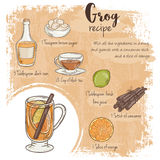 Vector hand drawn illustration of grog recipe with list of ingredients Stock Image