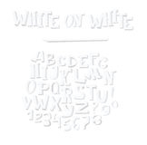 Vector hand drawn illustration with group of white alphabet letters, isolated on white background. Abc sequence from A to Z and nu Stock Images