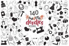 Vector hand drawn illustration of hand drawn handcraft doodles. Big set of hand drawn handcraft doodles. Vector hand drawn illustration black and white.  Design Stock Photo