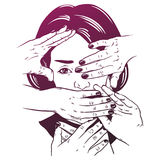 Vector hand drawn illustration of head with hands. Royalty Free Stock Photo