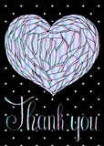 Vector hand drawn illustration of holographic heart with branches. And text `Thank you` and black background with little holographic hearts Vector Illustration