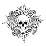 Vector hand drawn illustration of human skull  and bunch of snakes. Royalty Free Stock Photography
