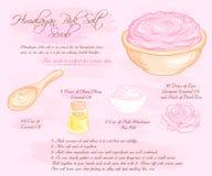 Vector hand drawn illustration of hymalayan pink rose salt scrub recipe Royalty Free Stock Photos