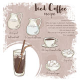 Vector hand drawn illustration of iced coffee recipe with list of ingredients Royalty Free Stock Photo