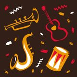 Vector hand drawn illustration for international jazz day with music instruments. Saxophone, guitar, drum and trumpet. Red and yellow on brown background stock illustration