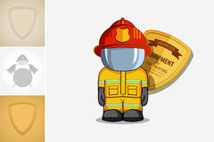 Vector hand drawn illustration. Isolated character firefighter in protective suit stands. Stock Photo
