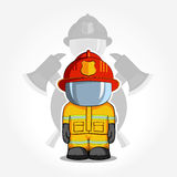 Vector hand drawn illustration. Isolated character firefighter in protective suit stands. Royalty Free Stock Photo
