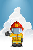 Vector hand drawn illustration. Isolated character firefighter in protective suit stands and raises his finger up. Smoke on a blue. Background Stock Image
