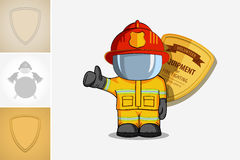 Vector hand drawn illustration. Isolated character firefighter in protective suit stands and raises his finger up. Smoke on a blue. Background Royalty Free Stock Photos