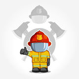 Vector hand drawn illustration. Isolated character firefighter in protective suit stands and raises his finger up. Smoke on a blue. Background Stock Photography