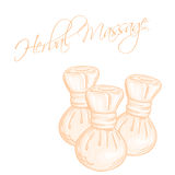 Vector hand drawn illustration of isolated herbal compress massage balls Royalty Free Stock Photos