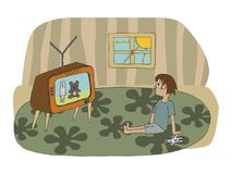 Vector hand drawn illustration of a kid stting on the floor and royalty free illustration