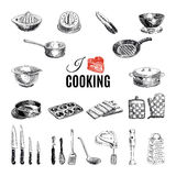 Vector hand drawn illustration with kitchen tools Stock Images