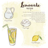 Vector hand drawn illustration of lemonade recipe with list of ingredients Royalty Free Stock Images