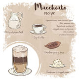 Vector hand drawn illustration of macchiato recipe with list of ingredients.  Royalty Free Stock Image