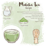 Vector hand drawn illustration of matcha tea recipe with list of ingredients Royalty Free Stock Images