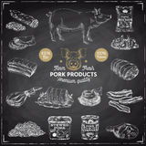 Vector hand drawn Illustration with meat products. Royalty Free Stock Image