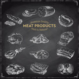 Vector hand drawn Illustration with meat products. Stock Images