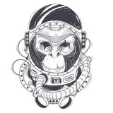 Vector hand drawn illustration of a monkey astronaut, chimpanzee in a space suit stock illustration