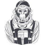 Vector hand drawn illustration of a monkey astronaut, chimpanzee in a space suit Royalty Free Stock Photo