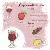 Vector hand drawn illustration of mulled apple wine recipe with list of ingredients Royalty Free Stock Photo