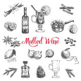 Vector hand drawn illustration with mulled wine Royalty Free Stock Image