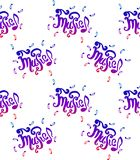Vector hand drawn illustration of Music lettering seamless pattern hand drown sketch illustration on white background. royalty free illustration