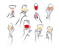 Free Vector Hand Drawn Illustration Of Woman`s Hand Hold Wine Glass Isolated On White Background. Stock Photo - 158055260