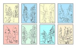 Vector hand drawn illustration of old street view silhouette on color background. stock illustration