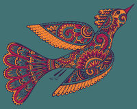 Vector hand drawn illustration of ornamental fancy bird. Royalty Free Stock Photos