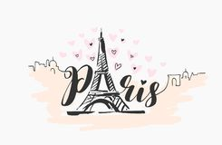 Vector hand drawn illustration of Paris famous building silhouette on white background. Vector hand drawn illustration of Paris famous building silhouette royalty free illustration
