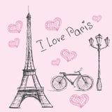 Vector hand drawn illustration with Paris symbols. Stock Photo