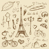 Vector hand drawn illustration with Paris symbols. Stock Photo