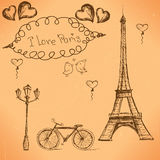 Vector hand drawn illustration with Paris symbols. Royalty Free Stock Photography