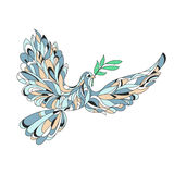 Vector hand drawn illustration of peace dove with olive branch. Stock Images