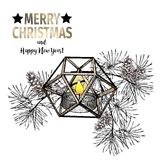 Vector hand drawn illustration of pine tree branches, cones and geometric lantern. Christmas engraved art decoration. Stock Photo