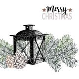 Vector hand drawn illustration of pine tree branches, cones and lantern. Christmas engraved art decoration. Use for greeting card, party, invitation, gift Royalty Free Stock Photos